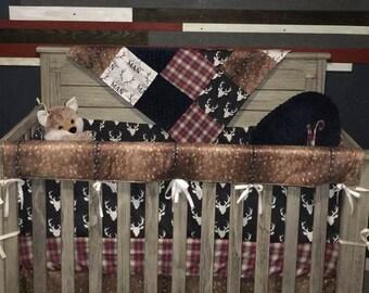 Baby Boy Crib Bedding - Little Man Antlers, Deer Skin, Navy Buck, Red Navy Plaid, Navy Minky Crib Baby Bedding Ensemble