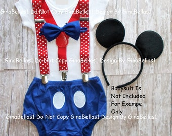 Captain Mickey Mouse Royal Prince Birthday outfit cake smash clubhouse Nautical suspenders sailor diaper cover Ears 9 12 18 24 toddler