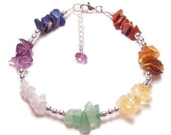 Chakra bracelet gemstone chips and Sterling silver - amethyst, lapiz lazuli, citrine, carnelian