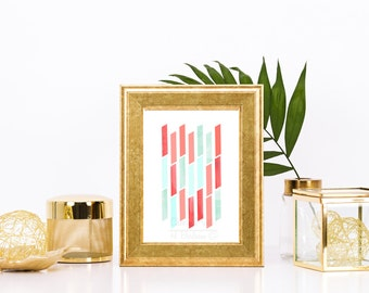 Coral and Mint Minimalist Watercolor Print