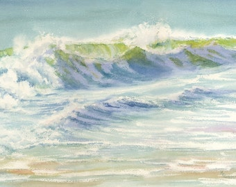 Splash giclee print feels like a dive into an early morning wave.