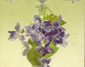 Embossed Antique New Year's Postcard Delicate Purple Violets Dec 25th 1907 Cancel
