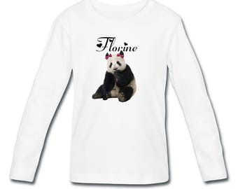 Girl Panda personalized with name long sleeve t-shirt