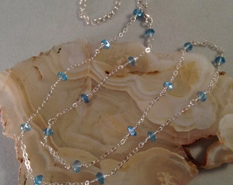 SWISS BLUE TOPAZ Necklace, sterling silver, gold, rose gold, blue, topaz, gemstone, December birthstone, light blue, beaded, station, chain
