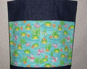 New Large Handmade Froggy Frog Denim Tote Bag