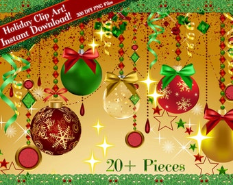 Holiday Clip Art, Christmas Clipart, Christmas Bulb Clipart, Holiday Graphics