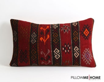 Red kilim pillow cover // 12x20 bohemian pillows // vintage eclectic home decor