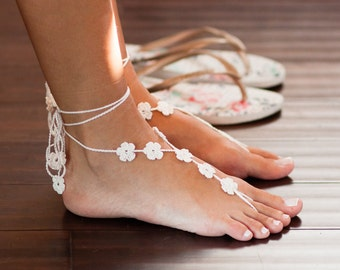 Footless Sandals- Beach Wedding Sandals- Bridal Barefoot Sandals- Foot Jewelry- Barefoot Wedding- Bridesmaids Gift- Boho Wedding Shoes- MCC