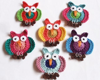 4 Crochet Owls (2-1/4 Inches) In  Multicolor  YH - 163-01