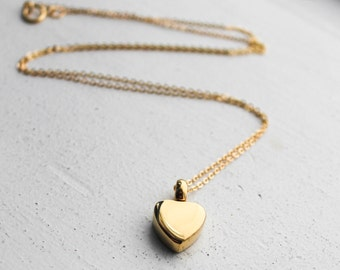 Gold Cremation Urn Necklace | Custom Urn Jewelry | Ash Urn Necklace | Memorial Jewelry | Dainty Simple Necklace | Yellow Gold Heart Urn
