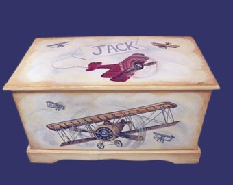 Vintage Airplane Toy Chest Custom Designed, kids room decor, personalized, furniture decor, art and decor