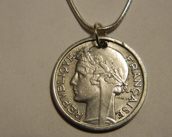 1948 France Coin Pendant and Chain Necklace French Coin Jewelry French Lady Liberty Coin Necklace