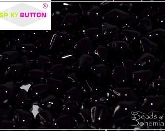 50 pcs Jet Czech Glass Spiky Button Beads 4.5x6.5 mm (10240)