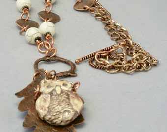 Earthy Owl on Leaf Necklace, Casual Bird on Branch Necklace, Boho Owl Jewelry, Copper Leaf Necklace, Owl Pendant, Bird Jewelry, Gift for Her