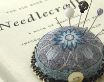 Large Lilies Pincushion Brooch in Blue