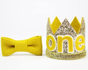 First Birthday Outfit Boy Crown   First Birthday   Boy Birthday Party Hat   First Birthday Glitter Crown   1st Birthday   Gold + Mustard ONE
