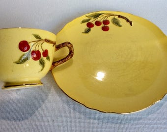 Royal Winton cherry cup and side plate
