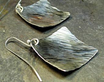 Sterling Silber Ohrringe geometrische Diamond - gehämmert baumelt Silber Regen