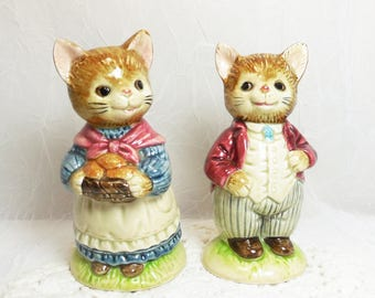 Vintage Otagiri Japan, Mr and Mrs Whiskers Cat Salt & Pepper Shaker Set, Anthropomorphic Cats