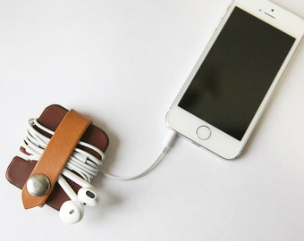 Leather Cord Organizer // Cable Keeper // Tech Accessory