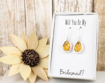 Topaz Silver Teardop Earrings, Silver Topaz Earrings, November Birthstone Earrings, Bridesmaid Gift, Wedding Jewelry, Bridesmaid Earrings