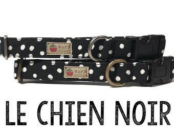 "Dog Collar - Polka Dot Dog Collar - Black Dog Collar - Organic Cotton - Antique Metal Hardware - ""Le Chien Noir"""