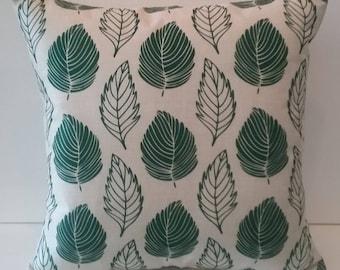 FREE SHIPPING!!! Green leaves Pillow, Faux Burlap fabric, Scandinavian Pillow -  Nordic Pillow cover