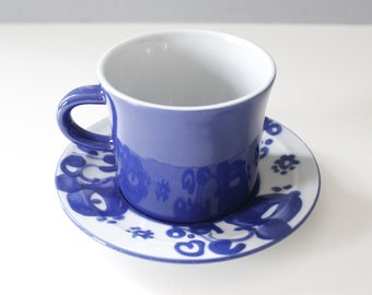 4 Available - Lapid Israel Tea Cup & Saucer Blue White Flowers Mid Century
