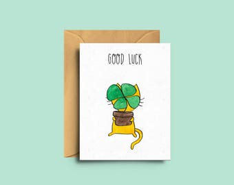 Mini Card Good Luck - watercolor illustration - the little things - catlover - green - greetings card - the yellow cat studio - test days