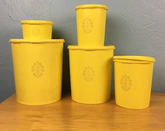 Yellow Starburst Tupperware Canister Set, Sun Burst Yellow, Set of 5, Servalier snap on lid, Made in USA