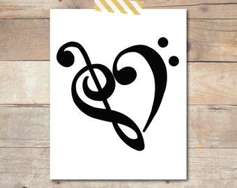 Treble & Bass Clef Heart Digital Print