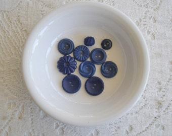 Ten Royal Blue Vintage Buttons