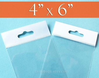 """100 4 x 6"""" Inch HANG TOP Clear Resealable Cello Bags Packaging for Hanging on Display or Peg"""