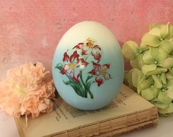 "Easter Egg, Goose Egg ~ Blue and White Ombre Egg with Hand Painted Flowers, K's Collection, 5"" Tall, Pysanka Blown, Collectible Easter Egg"