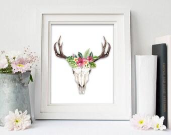 Tropical Skull Digital Art Printable
