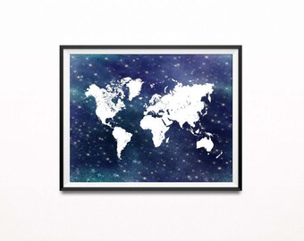 Night world map etsy printable starry night poster nautical world map print navy and white nursery decor gumiabroncs Images