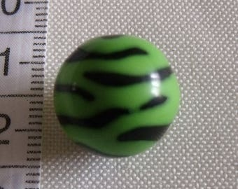2 round acrylic Zebra black and green beads 16mm