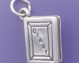 DIARY Charm .925 Sterling Silver Journal, Book Pendant - lp1618