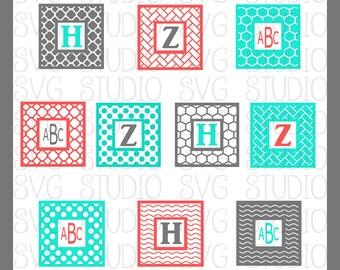 Square SVG Monogram Frames, Square SVG frames, Cricut Cut Files, Silhoutte Cut files, dxf, png, Square Cut Files