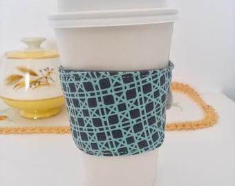 Coffee Cozy, Coffee sleeve, Coffee Cup Cozy, Teal Coffee Cozy, Geometric Coffee Cup Cozies, Fabric Coffee Cozy, Teal & Gray Coffee Cozy,
