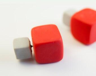 Double Sided Earring, Double Pearl Earring, Square Tribal Stud Earings, Tribal Earrings, Gray Earrings, Red Earrings, Red Gray, Christmas