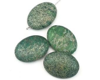 4 dark green impression jasper stone beads  /18mm x 25mm #PP 011