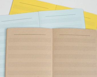 Music Score Notes Traveler's Notebook Insert, Midori inserts, Premium notebooks - 5 sizes and 19 solid colors[N032 Music Paper]