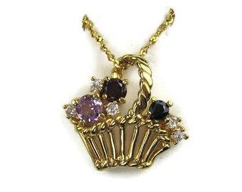 Gemstone Flower Basket Pendant Necklace
