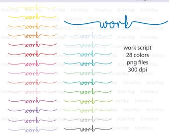Work Script Icon Digital Clipart in Rainbow Colors - Instant download PNG files