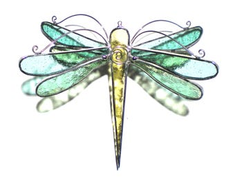 Wintergreen Wings - Stained Glass Dragonfly Twirl - Medium Green Suncatcher Home Garden Decor Hanging 3 Dimensional Yard Art (READY TO SHIP)