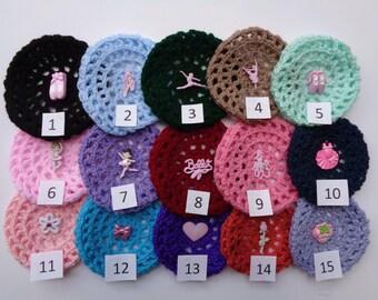 SALE! Small Bun Cover with Adornment, Pick Color and  Adornments, Crochet Bun Cover, Bun Wrap, Bun Holder, Snood, Ballet Bun Maker, Ballet