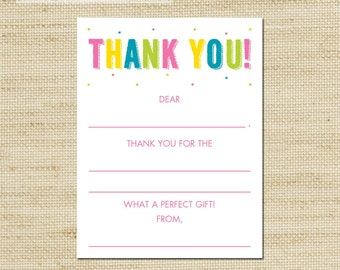 Birthday Thank You Card - Girls Rainbow Birthday kids fill in the blank thank you cards and matching envelopes