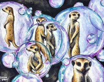 One original mixed media painting, 'Meerkat Madness'