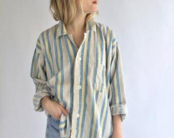 Vintage Blue Yellow Striped Button Down Blouse   Stripe Cotton Pajama shirt   Vertical Stripe Button Up   Classic Button Up  